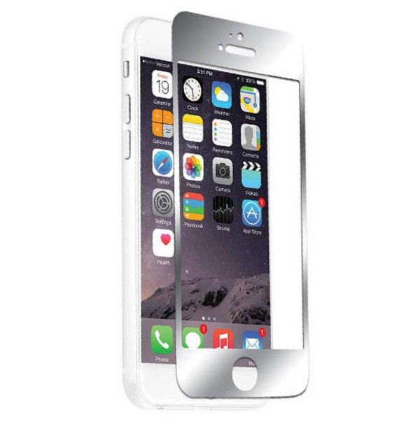 محافظ صفحه نمایش شیشه ای نقره ای نزتک آیفون Naztech Silver Tempered Glass Screen Protect iPhone 6/6s