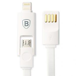 کابل شارژ و انتقال داده دو سر لایتنینگ و میکرو یو اس بی Baseus Dual-Port Series Cable 1m