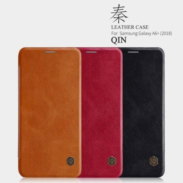 کیف چرمی نیلکین Qin Case Samsung Galaxy A6 Plus 2018
