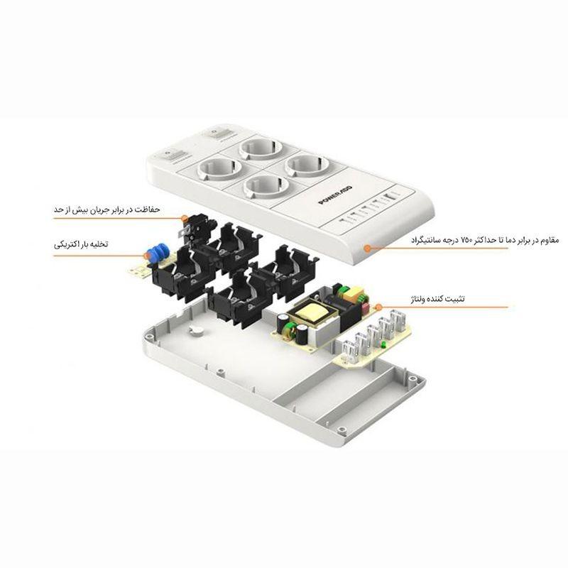 چند راهی و شارژر Poweradd PS-9026ER Power Strip