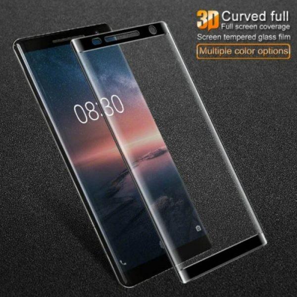 محافظ صفحه نمایش شیشه ای تمام صفحه دور چسب 3D Glass برای Nokia 8 Sirocco