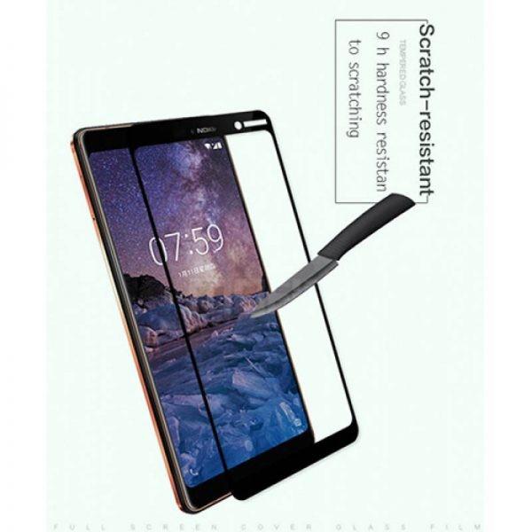 محافظ صفحه نمایش شیشه ای تمام صفحه دور چسب 3D Glass برای Nokia 7 plus