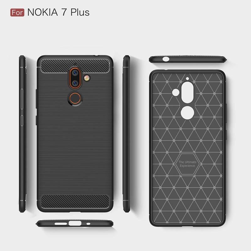 قاب محافظ ژله ای نوکیا Carbon Fibre Case Nokia 7 plus