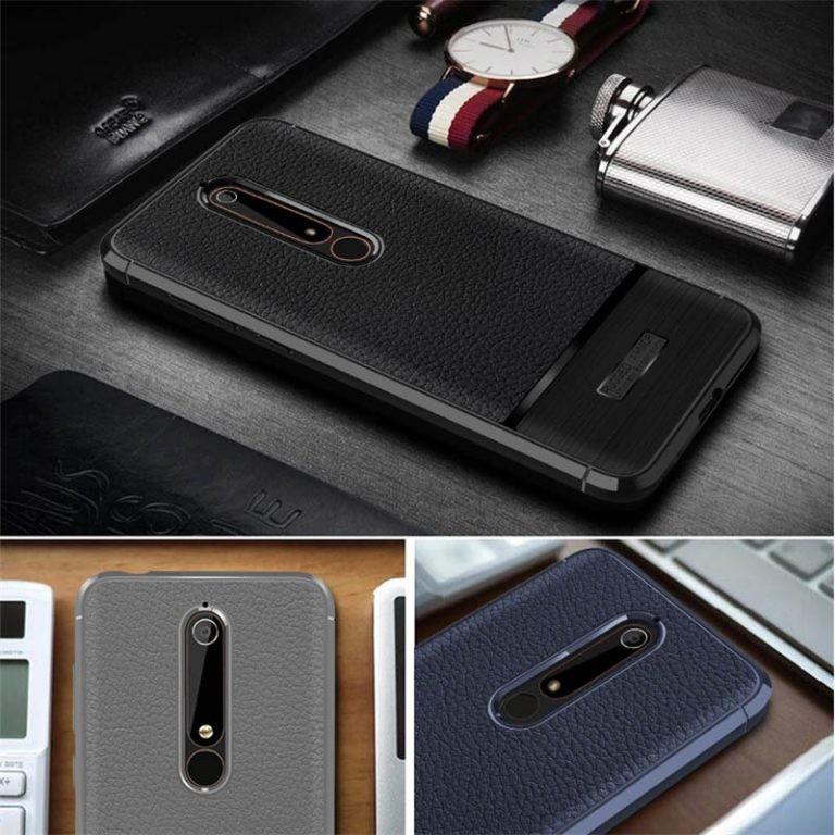 قاب ژله ای طرح چرم نوکیا Becation Ruged Armor Soft Case Nokia 6.1