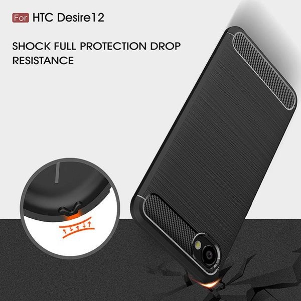 قاب محافظ ژله ای اچ تی سی Carbon Fibre Case HTC Desire 12