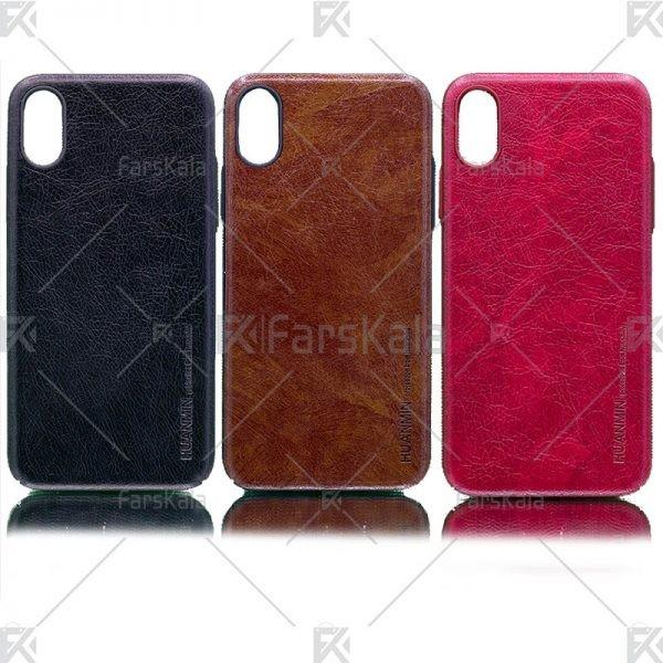 قاب محافظ چرمی اپل Huanmin Leather protective frame Apple iPhone Xs