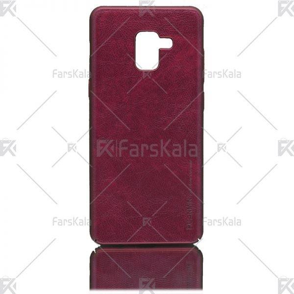 قاب محافظ چرمی سامسونگ Huanmin Leather protective frame Samsung Galaxy A8 plus 2018