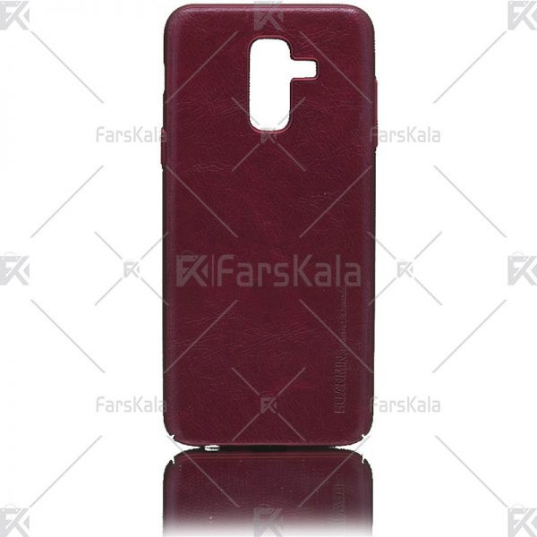 قاب محافظ چرمی سامسونگ Huanmin Leather protective frame Samsung Galaxy J8