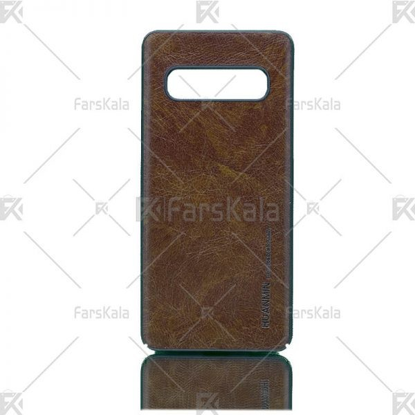 قاب محافظ چرمی سامسونگ Huanmin Leather protective frame Samsung Galaxy S10