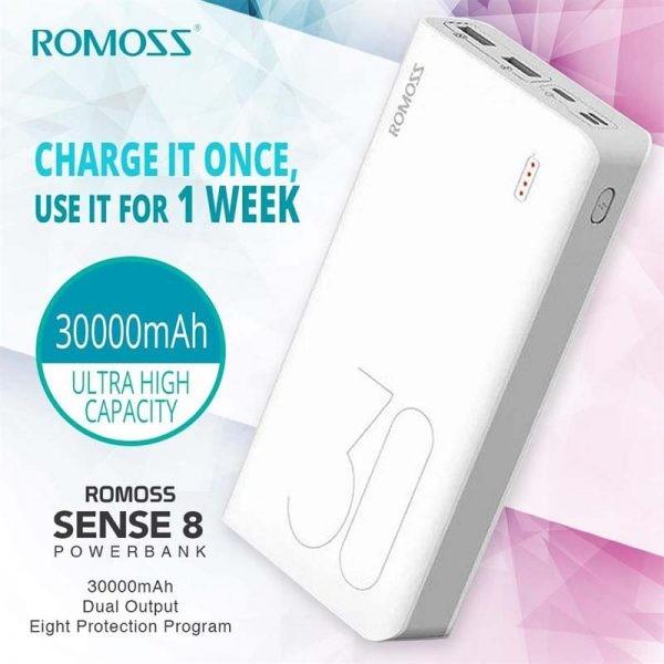 پاوربانک 30000 فست شارژ روموس Romoss Sense 8 Plus PHP30 Pro QC 3.0