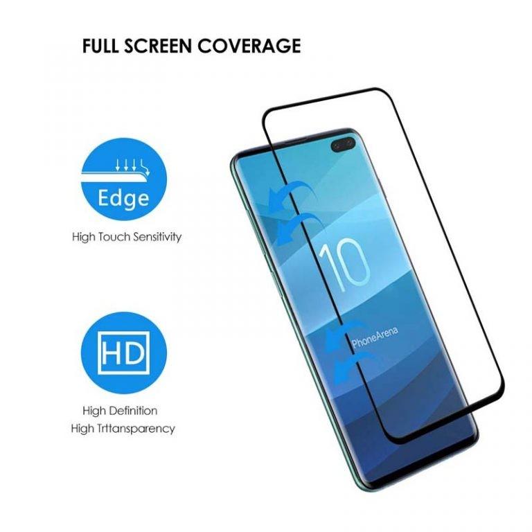 محافظ صفحه نمایش شیشه ای با پوشش کامل تمام چسب Full cover glass screen protector Samsung Galaxy S10 Plus