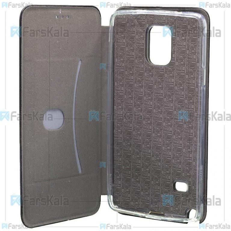کیف محافظ چرمی سامسونگ Leather Standing Magnetic Cover For Samsung Galaxy Note 4