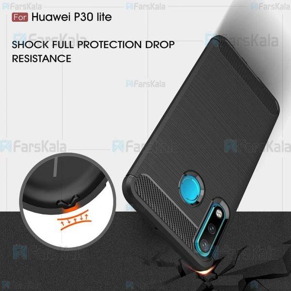 قاب محافظ ژله ای هواوی Fiber Carbon Rugged Armor Case For Huawei P30 lite / Nova 4e