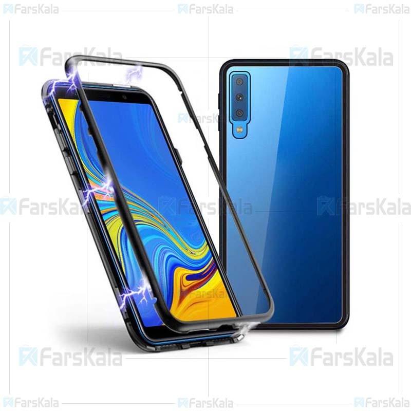 قاب محافظ مگنتی سامسونگ Glass Magnetic 360 Case Samsung Galaxy A7 2018