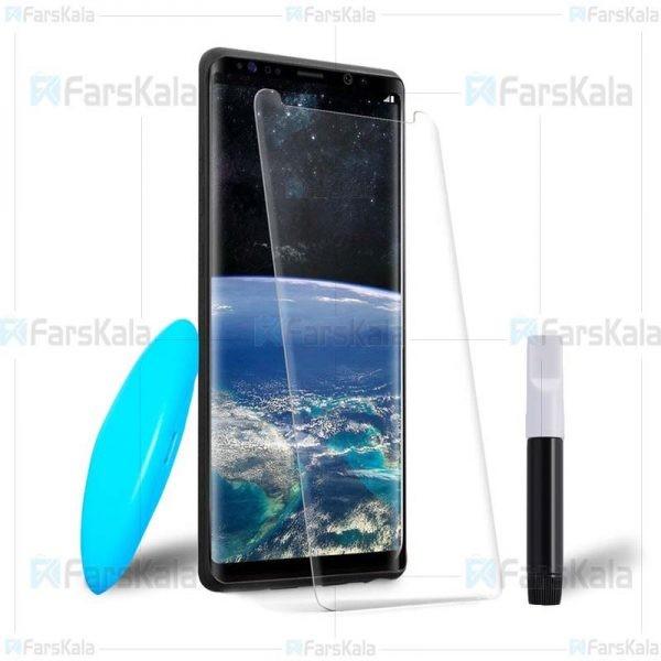محافظ صفحه شیشه ای تمام صفحه و خمیده یو وی سامسونگ UV Full Glass Screen Protector Samsung Galaxy S8 Plus