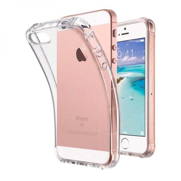 قاب محافظ ژله ای کپسول دار 5 گرمی اپل Clear Tpu Air Rubber Jelly Case For Apple iphone 5 & 5S