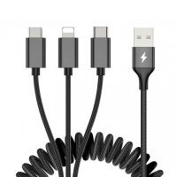 کابل ۳ کاره 2 متری راک Rock 3in1 Metal Stretchable lightning - Type-C - Micro USB