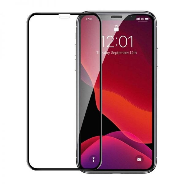 محافظ صفحه نمایش شیشه ای دو تایی بیسوس اپل Baseus Full Coverage Curved Screen Protector For Apple iPhone XS Max 11 Pro Max