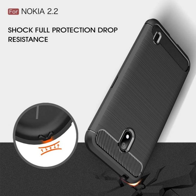 قاب محافظ ژله ای نوکیا Fiber Carbon Rugged Armor Case For Nokia 2.2