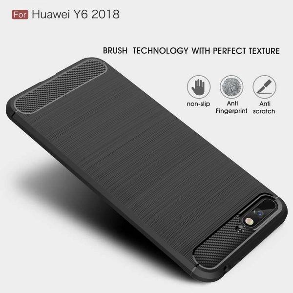 قاب محافظ ژله ای هواوی Fiber Carbon Rugged Armor Case For Huawei Y6 Prime 2018