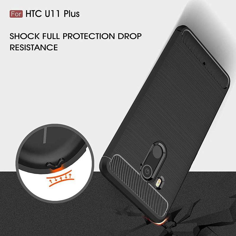 قاب محافظ ژله ای اچ تی سی Fiber Carbon Rugged Armor Case For Glass Screen Protector HTC U11 Plus