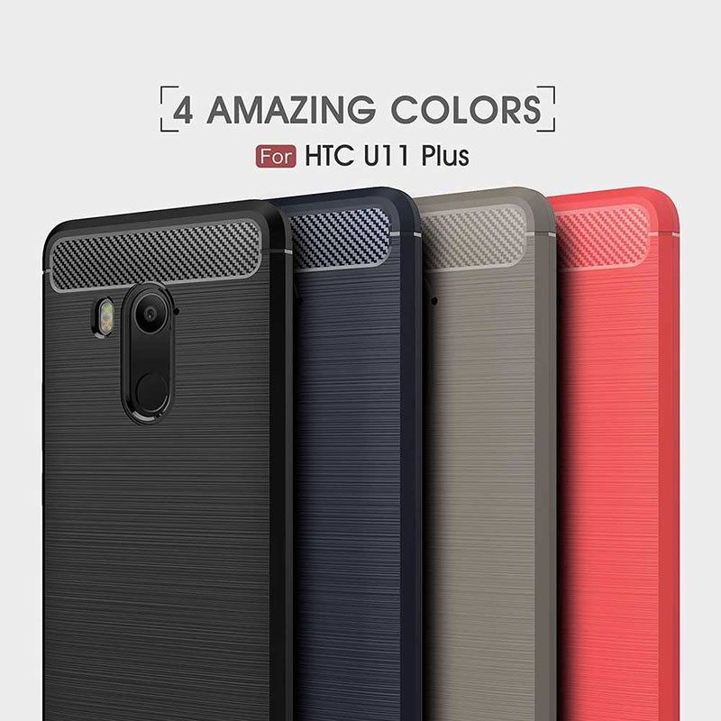 قاب محافظ ژله ای اچ تی سی Fiber Carbon Rugged Armor Case For Glass Screen Protector HTC U11 Plus