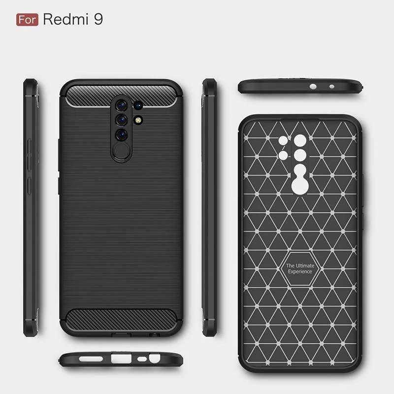 قاب محافظ ژله ای شیائومی Fiber Carbon Rugged Armor Case For Xiaomi Redmi 9