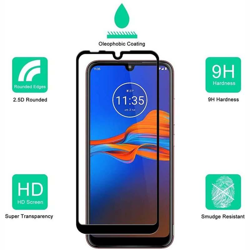 محافظ صفحه نمایش تمام چسب با پوشش کامل موتورولا Full Glass Screen Protector For Motorola Moto E6 Plus