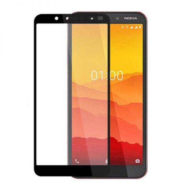 محافظ صفحه نمایش تمام چسب با پوشش کامل نوکیا Full Glass Screen Protector For Nokia C1