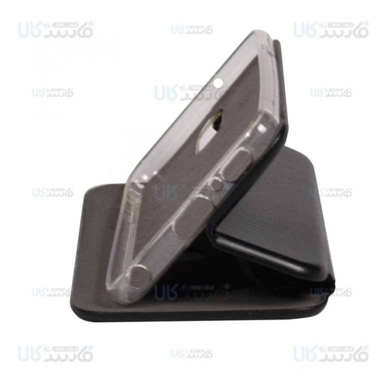 کیف محافظ چرمی ال جی Leather Standing Magnetic Cover For LG Q7