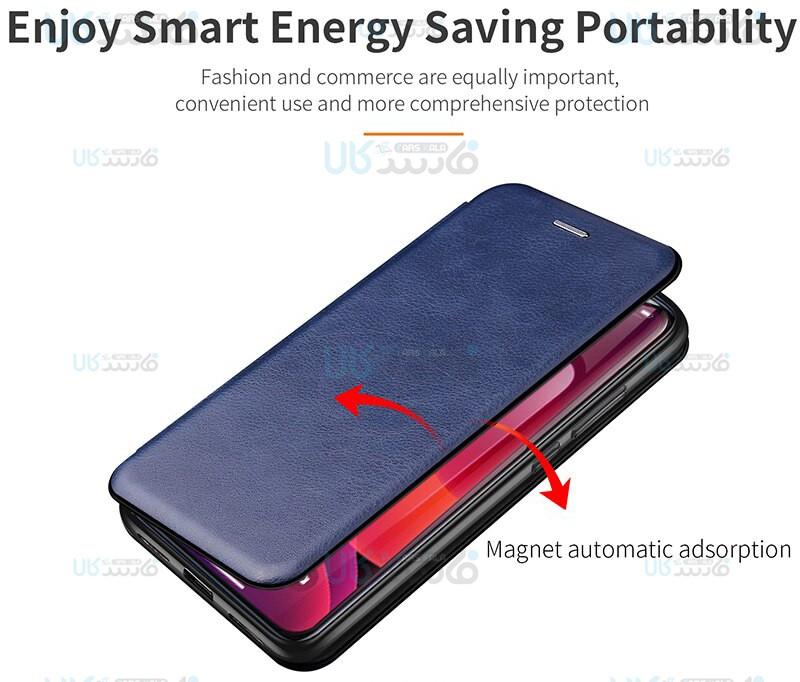 کیف محافظ چرمی سامسونگ Leather Standing Magnetic Cover For Samsung Galaxy A21s