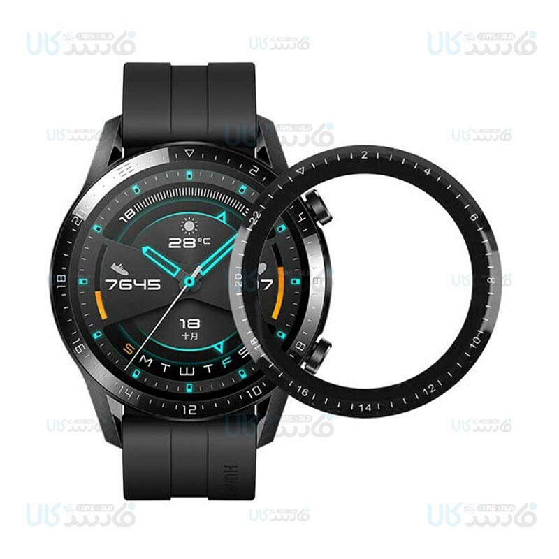 محافظ صفحه نمایش شیشه ای تمام صفحه ساعت هوشمند هواوی Full Glass Screen Protector Huawei Watch GT 2 46mm