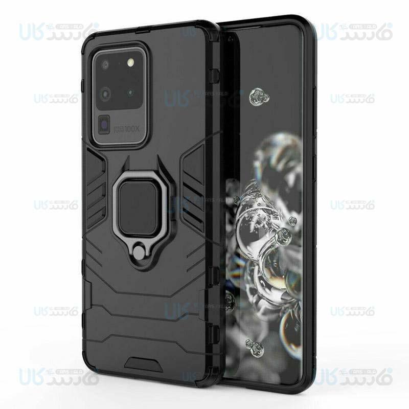 قاب محافظ ضد ضربه انگشتی سامسونگ Ring Holder Iron Man Armor Case Samsung Galaxy S20 Ultra