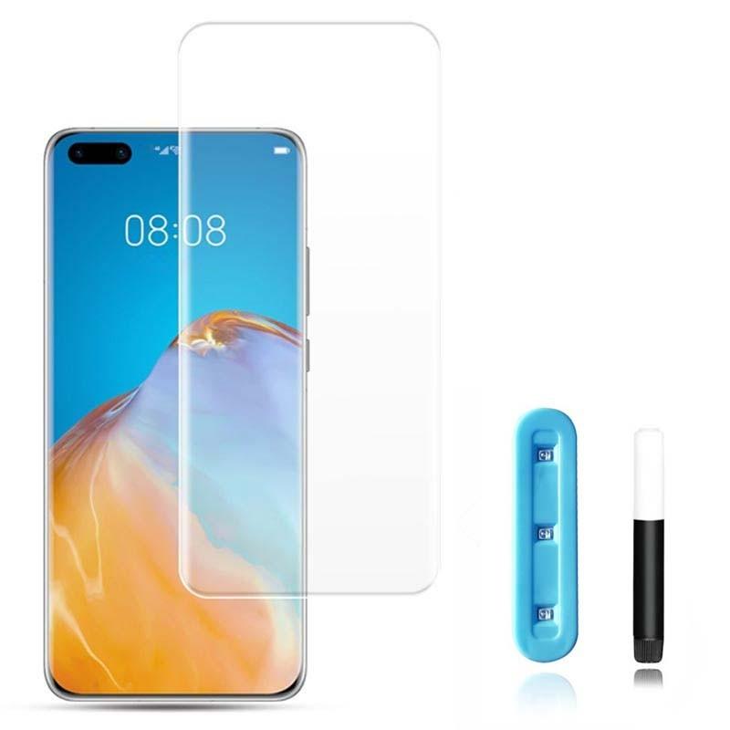 محافظ صفحه شیشه ای تمام صفحه و خمیده یو وی هواوی UV Full Glass Screen Protector Huawei P40 Pro