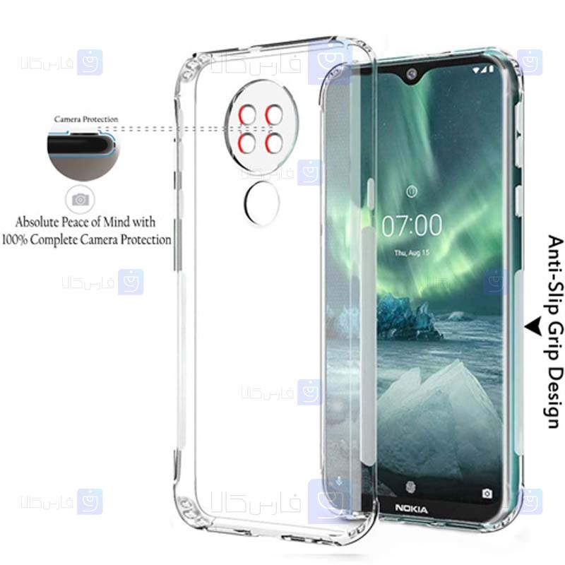 قاب محافظ ژله ای 5 گرمی با محافظ لنز نوکیا Clear Jelly Case For Nokia 6.2 / 7.2