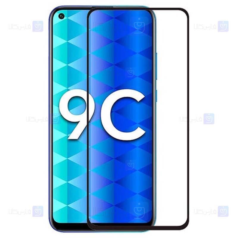 محافظ صفحه نمایش تمام چسب با پوشش کامل هواوی Full Glass Screen Protector For Huawei Honor 9C