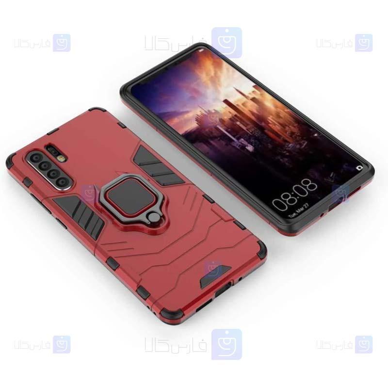 قاب محافظ ضد ضربه انگشتی هواوی Ring Holder Iron Man Armor Case Huawei P30 Pro
