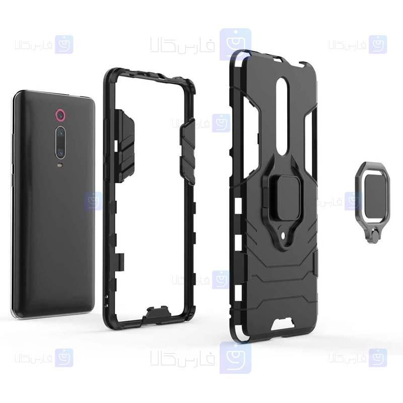قاب محافظ ضد ضربه انگشتی شیائومی Ring Holder Iron Man Armor Case Xiaomi Redmi K20 K20 Pro Mi 9T Mi 9T Pro