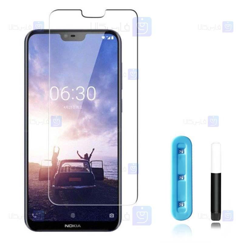 محافظ صفحه شیشه ای تمام صفحه و خمیده یو وی نوکیا UV Full Glass Screen Protector Nokia 6.1 Plus