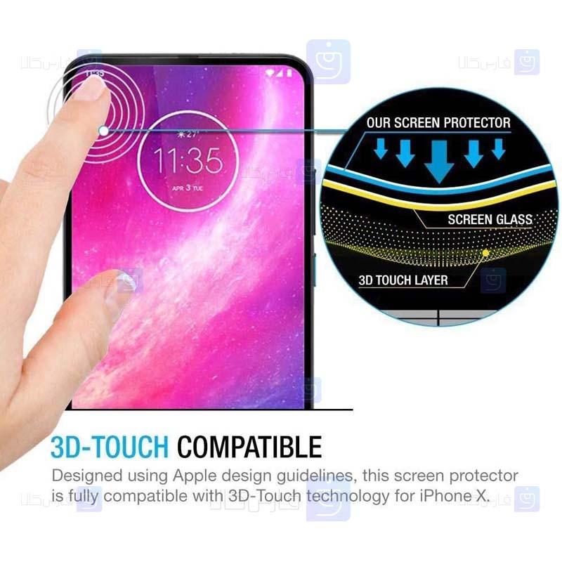 محافظ صفحه نمایش تمام چسب با پوشش کامل موتورولا Full Glass Screen Protector For Motorola One Hyper