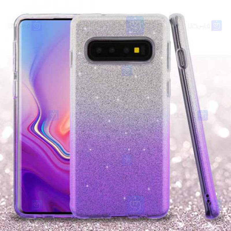 قاب ژله ای اکلیلی سامسونگ Glitter Gradient Color Alkyd Jelly Case Samsung Galaxy S10