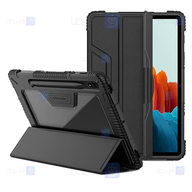 کیف بامپردار نیلکین تبلت سامسونگ Nillkin Bumper Leather Cover Samsung Galaxy Tab S7