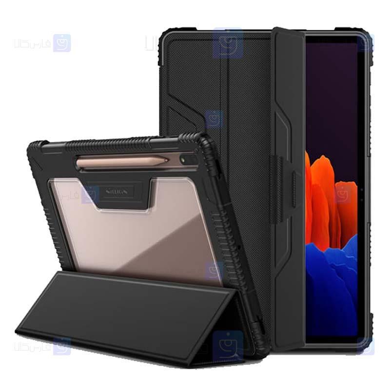 کیف بامپردار نیلکین تبلت سامسونگ Nillkin Bumper Leather Cover Samsung Galaxy Tab S7 Plus