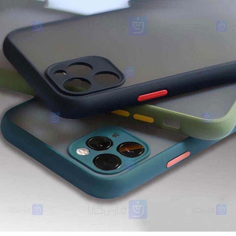 قاب محافظ مات با محافظ لنز اپل Transparent Hybrid Case Apple iPhone 12 Pro Max