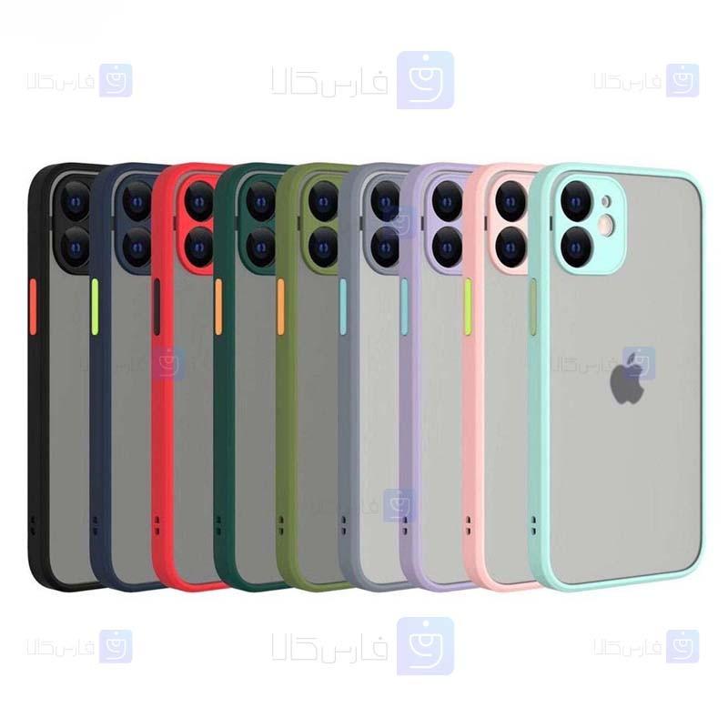 قاب محافظ مات با محافظ لنز اپل Transparent Hybrid Case Apple iPhone 12 mini