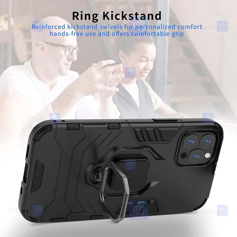 قاب محافظ ضد ضربه انگشتی اپل Ring Holder Iron Man Armor Case Apple iPhone 12 Pro Max