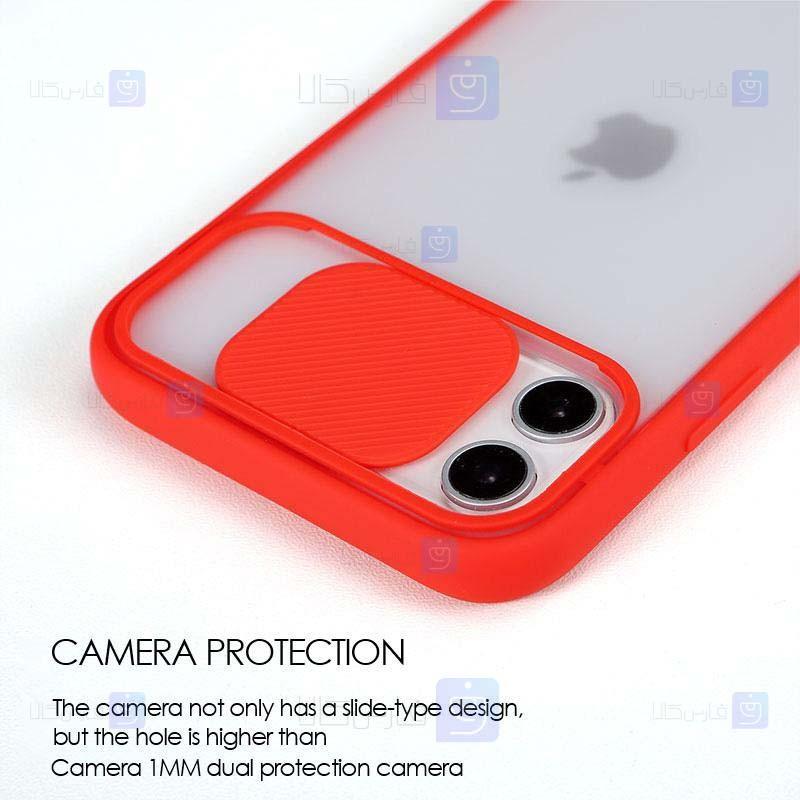 قاب محافظ مات با محافظ لنز آیفون Transparent Hybrid Matte Cam Protector Case for Apple iPhone 12 Pro