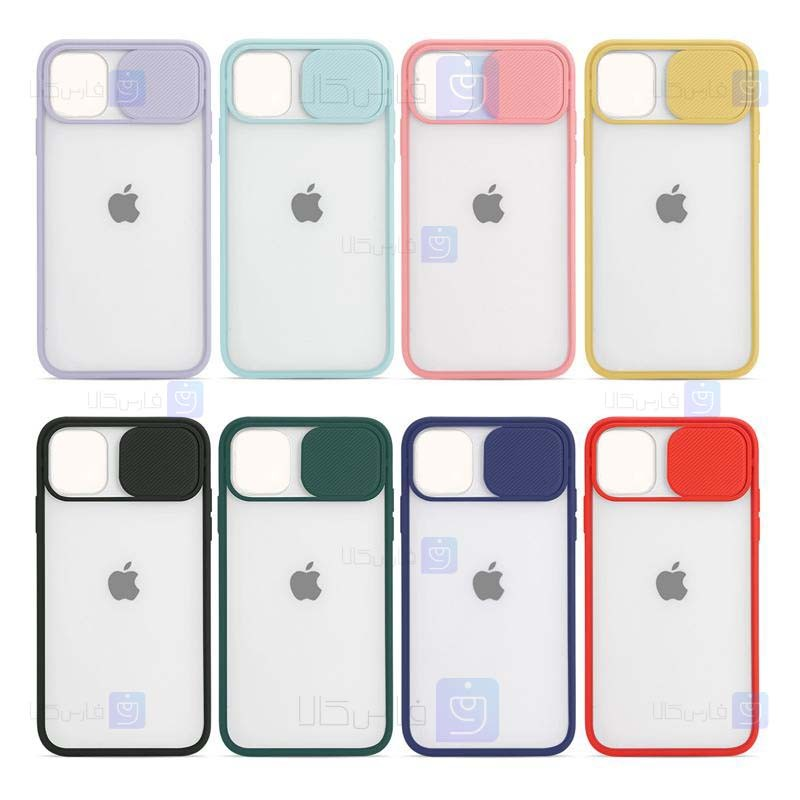 قاب محافظ مات با محافظ لنز آیفون Transparent Hybrid Matte Cam Protector Case for Apple iPhone 12 mini