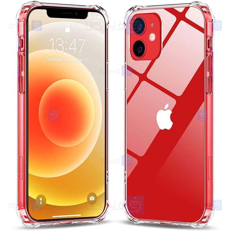 قاب محافظ پشت کریستالی کپسول دار اپل Manger Transparent Air Rubber Case For Apple iPhone 12