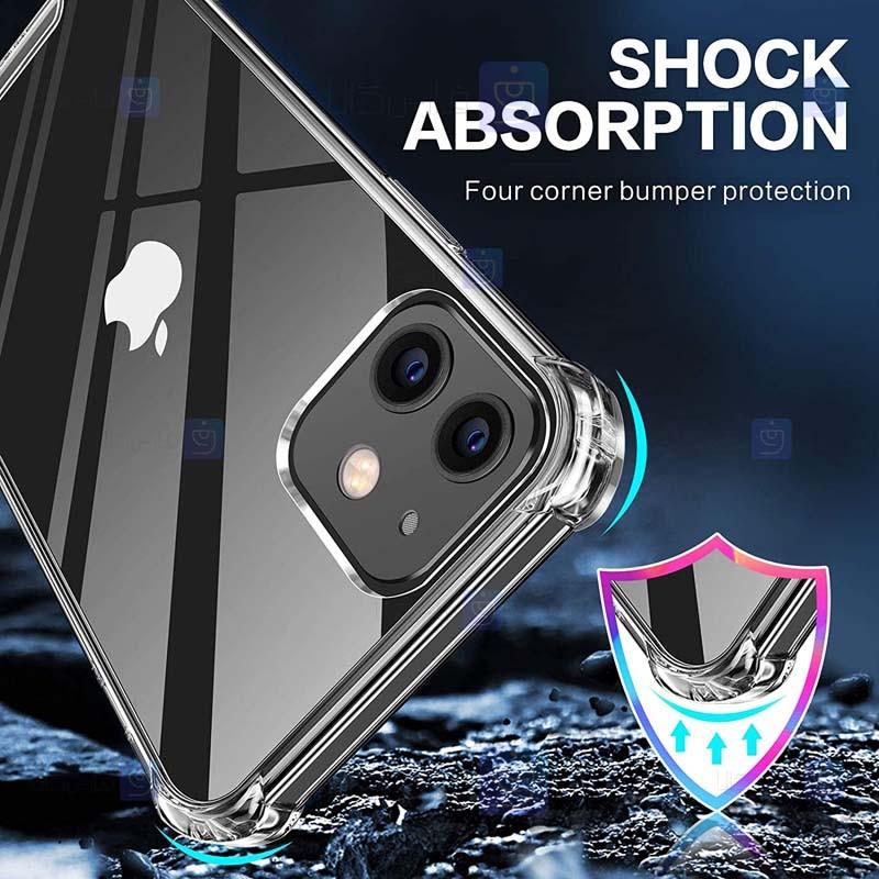 قاب محافظ پشت کریستالی کپسول دار اپل Manger Transparent Air Rubber Case For Apple iPhone 12 Pro Max